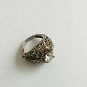 Art deco Victorian inspir sterling silver ring cz